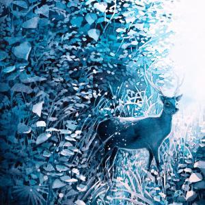 絵画 モダン アートパネル アート インテリア 雑貨 おしゃれ ロココロ 水彩画 動物 アニマル 鹿 しか シカ 画家 : 平田 幸大 作品 : 藍色の森|obeolysco