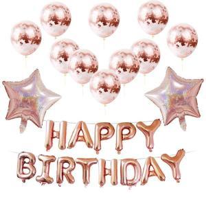 誕生日 バルーン 飾り セット の コンフェッティ 風船 と星形 風船 空気入れセット  ピンクカラ...
