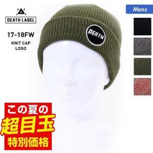 DEATH LABEL/デスレーベル メンズ 折り返し ニット帽 ビーニー ニットキャップ ぼうし 帽子 二つ折り ダブル LOGO|oc-sports