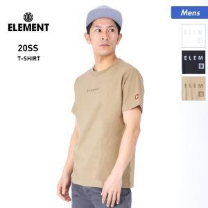 ELEMENT/エレメント メンズ 半袖 Tシャツ ティーシャツ トップス 白 ホワイト 黒 ブラック クルーネック ロゴ BA021-302|oc-sports