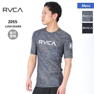 RVCA/ルーカ メンズ 半袖 ラッシュガード Tシャツ 吸汗速乾 水着 ロゴ 紫外線カット ビーチ 海水浴 プール BA041-860|oc-sports