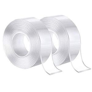 テープ 両面テープ 2枚入 超強力 のり残らず 繰り返し ナノテープ 多機能 魔法テープ 透明 防水 耐熱 強力 滑り止め 洗濯可能 多用途 家庭 N|oceans-asa