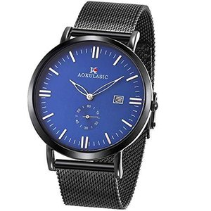 SIBOSUN 腕時計 メンズ 薄型 薄い メッシュ ステンレス 鋼 日本クォーツ 防水 日付 サブダイヤル秒 oceans-asa