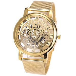 SIBOSUN スケルトン ゴールド 腕時計 メンズ メッシュ ステンレス鋼 バンド クォーツ アナログ oceans-asa