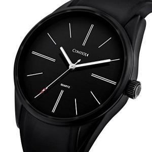 Comtex 腕時計 ブラック クォーツ 防水 ウォッチ アウトドア スポーツ 時計 メンズ シリコン oceans-asa