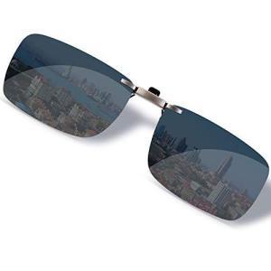 SOXICK クリップオン 前掛け 偏光サングラス サングラス クリップ めがねの上から ワンタッチ装着 スモーク メガネに取り付け スクエア サング oceans-asa