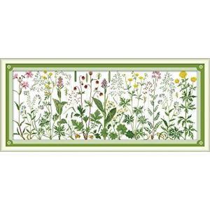 Joy Sunday クロスステッチキット 14CT スタンプ刺繍キット 正確なプリント刺繍 - 草原の上の花 85×36cm|oceans-asa