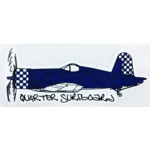 クォーターサーフボード QUARTER SURFBOARDS ステッカー  戦闘機 ネイビー|oceanzone