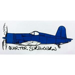 クォーターサーフボード QUARTER SURFBOARDS ステッカー  戦闘機 ブルー|oceanzone