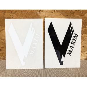MAXIM(マキシム)ウェットスーツ カッティングステッカー Vロゴ 黒白 ※メール便可能|oceanzonesurf