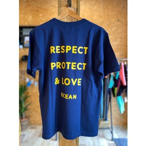 【OCEAN】 RESPECT TEE プレミアムTシャツ インディゴカラー オーシャン オリジナル|oceanzonesurf