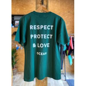 【OCEAN】 RESPECT TEE プレミアムTシャツ アイビーグリーンカラー オーシャン オリジナル|oceanzonesurf