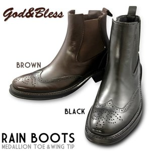 e76de544bb ゴッド&ブレス サイドゴア レインブーツ ウィングチップ メンズ ラバーブーツ 防水 長靴 ビジネス GOD&BLESS ゴッドアンドブレス  GB-3139