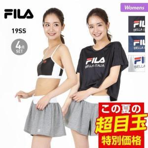 38f4d1fe308 8%OFF券配布中 FILA/フィラ レディース 水着 4点セット 上下セット トップス ショーツ ショートパンツ Tシャツ 229704
