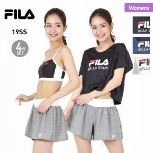b1e26b72f88 FILA/フィラ レディース 水着 4点セット 上下セット トップス ショーツ ショートパンツ Tシャツ 229704