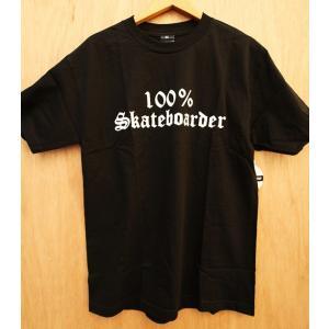 100%SKATEBOADER LOGO S/S Tシャツ BLACK フロントプリント|oddball-skate-snow
