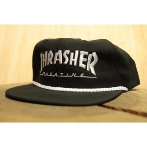THRASHER (スラッシャー,キャップ) Thrasher Rope Snapback Black/white|oddball-skate-snow
