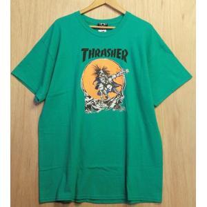 THRASHER (スラッシャー,Tシャツ) Outlaw T-Shirt By Pushead green|oddball-skate-snow