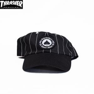 THRASHER (スラッシャー,ストライプキャップ) MOATH PINSTRIPE SNAPBACK BLACK|oddball-skate-snow