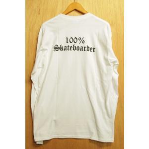 100%SKATEBOARDER (100%,スケートボーダー,ロンT) LOGO L/S TEE White|oddball-skate-snow