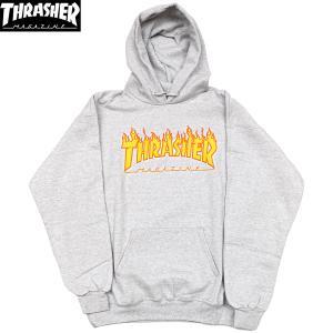 THRASHER (スラッシャー,パーカー,フレイムロゴ) THRASHER FLAME LOGO HOOD grey|oddball-skate-snow
