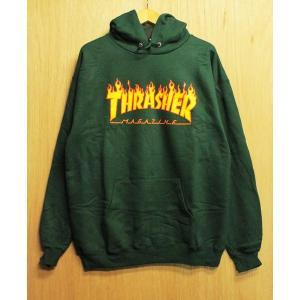 THRASHER (スラッシャー,パーカー,フレイムロゴ) THRASHER FLAME LOGO HOOD forest green|oddball-skate-snow