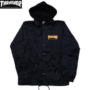 THRASHER (スラッシャー,フレイムロゴ,フードコーチジャケット) FLAME LOGO COACH JACKET black|oddball-skate-snow