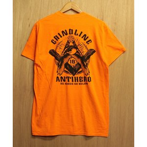 GRINDLINE×ANTIHERO (グラインドライン,アンンタイヒーロー,Tシャツ) S/S TEE orange oddball-skate-snow