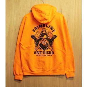 GRINDLINE×ANTIHERO (グラインドライン,アンタイヒーロー,スウェットパーカー) PULLOVER orange oddball-skate-snow