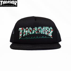 THRASHER (スラッシャー,バラ,ローズ,キャップ) ROSES MESH HAT black|oddball-skate-snow