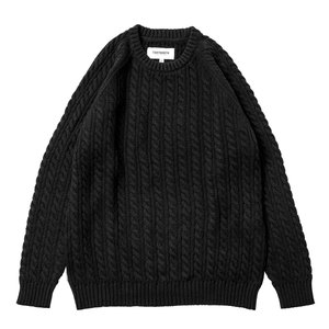 TBPR (タイトブース,セーター) CABLE KNIT SWEATER black|oddball-skate-snow