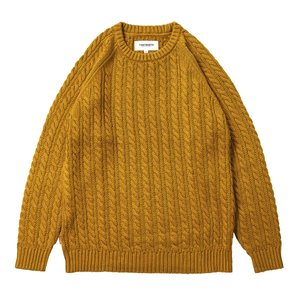 TBPR (タイトブース,セーター) CABLE KNIT SWEATER musterd|oddball-skate-snow