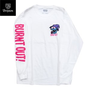 BRIXTON by FARTCO (ブリクストン,ロンT) BURNT OUT L/S TEE white|oddball-skate-snow