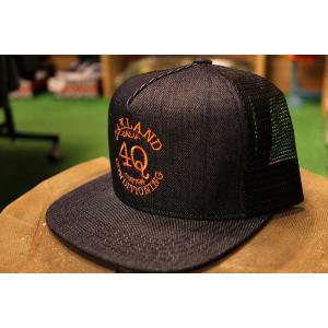 4Q(フォーキュー,デニム,メッシュキャップ)LOGO MESH CAP DENIM/ORANGE|oddball-skate-snow