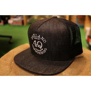 4Q(フォーキュー,デニム,メッシュキャップ)LOGO MESH CAP BLACK DENIM/WHITE|oddball-skate-snow