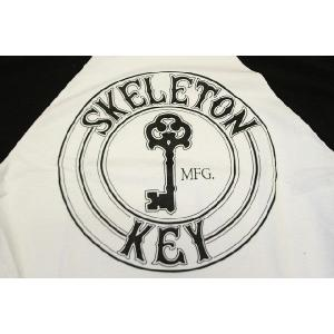 SKELETON KEY(スケルトンキー) BASEBALL TEE WHITE|oddball-skate-snow