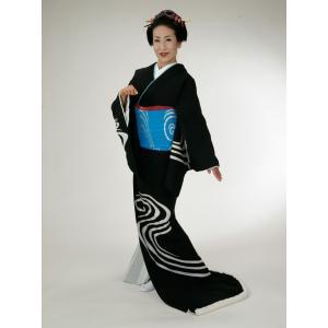 裾引き 引き摺り お引き 着物 きもの 仕立て上がり黒地 白流水 裏地白無地 舞踊 衣装