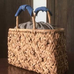 山葡萄のかごバッグと手紡ぎ綿糸を草木染し手織りした布の落とし込み巾着のセット/SHOKUの布 コースター2枚プレゼント中/SA-4137/3/籠 offer1999