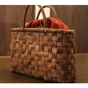 山葡萄 かごバッグと手紡ぎ綿糸を草木染し手織りした布の落とし込み巾着のセット /SHOKUの布 コースター2枚プレゼント中/SA-4810/3/籠 offer1999