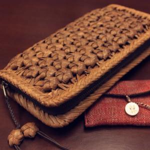 山葡萄 財布 花模様編み中は本革使用&手紡ぎ草木染手織り布を使用したカードケースセット/SA-7305/コースター2枚プレゼント offer1999