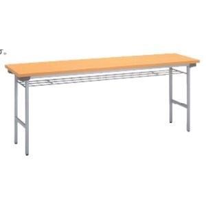 生興 薄型折りたたみテーブル 棚付き 光触媒タイプ 消臭・抗菌仕様  W1800×D450×H700MM   TH-1845T□|offic-one