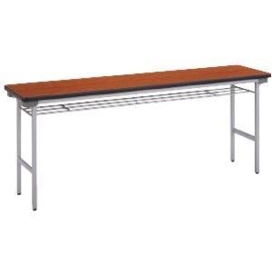 生興 薄型折りたたみテーブル 棚付き メラミンタイプ W1500×D600×H700MM   TM-1560T□|offic-one
