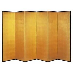 ■  金屏風 6尺6曲 メッキ箔ビニールコーティング 幅3040×奥行き308×高さ1800MM■コ...