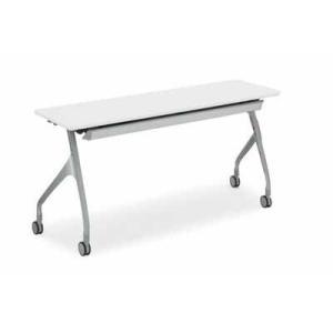 コクヨ   会議用テーブル エピファイ 会議用テーブル 天板フラップ式 配線キャップ付き パネルなし 直線タイプ 幅1500×奥行き45|offic-one