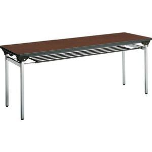 コクヨ   会議 ミーティング用テーブル KT-500シリーズ 角脚メッキ  脚折りたたみ式 パネル付き 棚付き 1800×奥行き450MM|offic-one