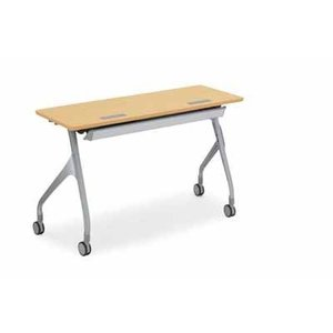 コクヨ   会議用テーブル エピファイ 会議用テーブル 天板フラップ式 配線キャップなし パネル付き 直線タイプ 幅1200×奥行き45|offic-one