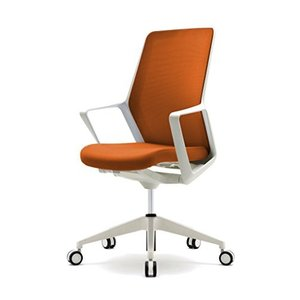 くろがね   ミーティングチェア オフィスチェア FLチェア FL210BF ハイバック ホワイトフレーム オレンジ|offic-one
