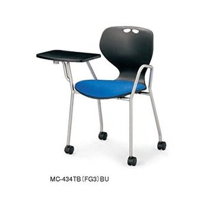 アイコ MC-434TB メモ台付会議用事務椅子 キャスターパット座 ブラック本体+10色パッド 肘付 4脚セット   スタッキングタイプ offic-one