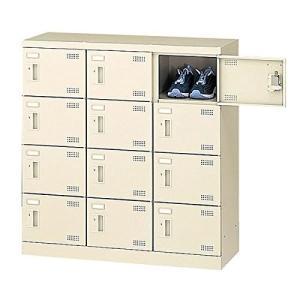 生興   SLBシューズボックス 錠なし取っ手 ニューグレー色 3列4段12人用 W900×D350×H945 SLB-M12-K offic-one