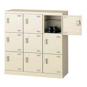 生興   SLBシューズボックス 錠なし取っ手 ニューグレー色 3列3段9人用 W900×D350×H945 SLB-M9-K offic-one